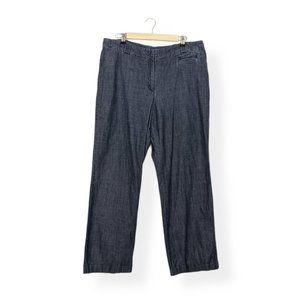J. Jill Blue Chambray Cotton Plus Wide Leg Pants
